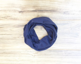 Baby Toddler Child Infinity Scarf - Solid Navy- READY TO SHIP