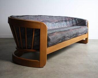 Stunning Vintage Barrel Back Sofa in Solid Oak