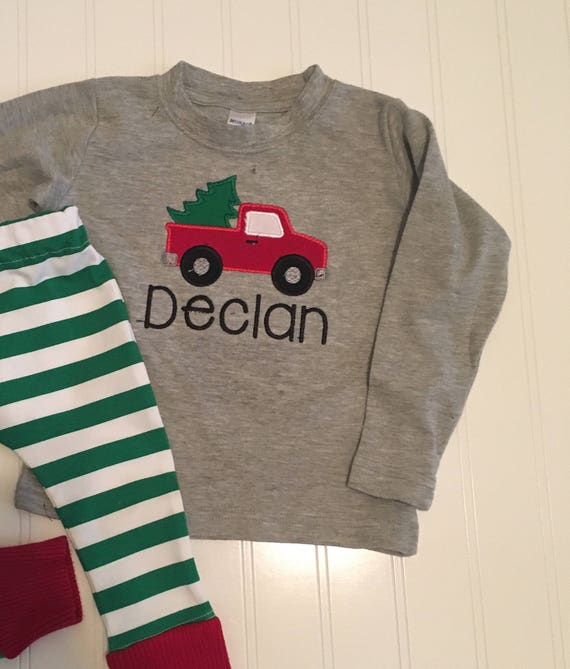 Truck carrying Christmas tree shirt, boys personalized christmas shirt, truck christmas shirt, baby's first christmas, truck Christmas tree