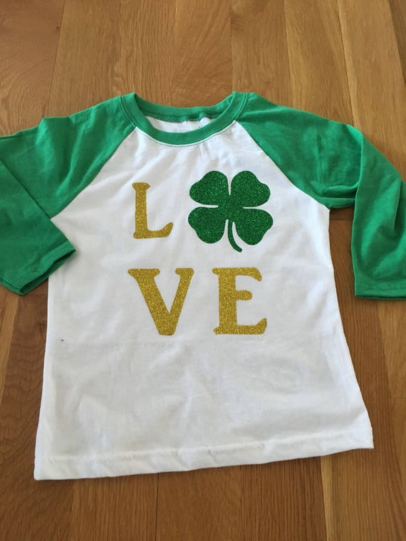 Love glitter shamrock girls shirt, glitter gold and green vinyl raglan shirt, St Patrick's Day girls shirt, brother-sister coordinating shir