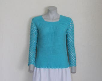Turquoise Crochet Top Sweater Knit  Jumper Blouse Long Sleeve Crocheted  Pullover Holey Romantic Elegant