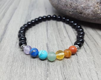 Healing 7 Chakra Beaded Bracelet.  Red Jasper, Carnelian, Citrine, Green Aventurine, Turquoise, Lapis, and Amethyst Beaded Bracelet.