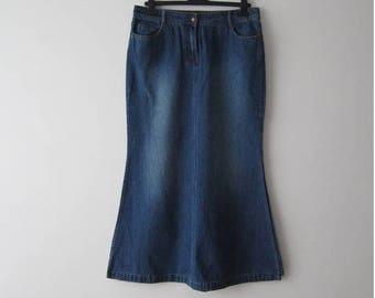 Vintage Long Denim Skirt Midi Skirt Button Closure Skirt High Waist Skirt Pencil Skirt With Pockets Size Medium