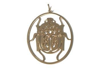 Filigree gold plated scarab pendant