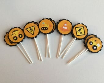 Construction themed cupcake toppers / Under Construction themed birthday party / Construction themed birthday party decorations