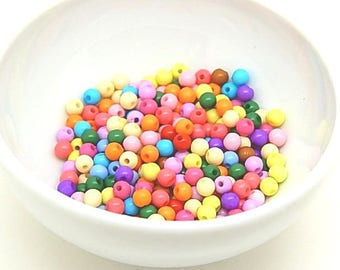 200 colorful 4mm acrylic round beads