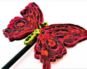 Pink orange handmade ceramic butterfly Pottery stake Decorative garden planter plantpot decorations. Novelty gifts Summer garden ideas