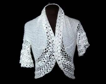 70's Tippet bolero, Hand knitted/crochet in Finland