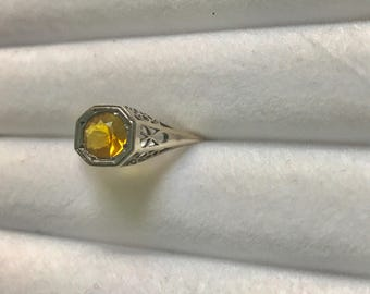 Vintage .925 citrine ring 7