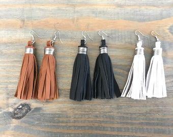 Leather Tassel Earring