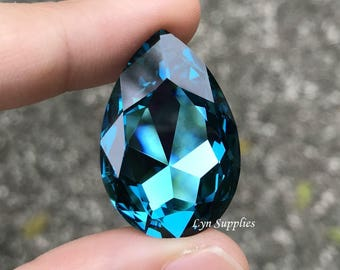 4327 INDICOLITE 30x20mm Swarovski Crystal Teardrop Pear Fancy Stone No Hole, Teal Blue