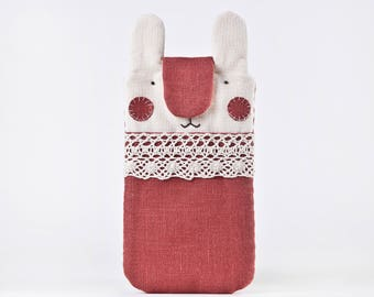 iPhone 8 Case, Linen Samsung Galaxy S8 case, Red iPhone 7 Plus sleeve, Protective Case for iPhone 6 Plus case, Rabbit iPhone 7 case