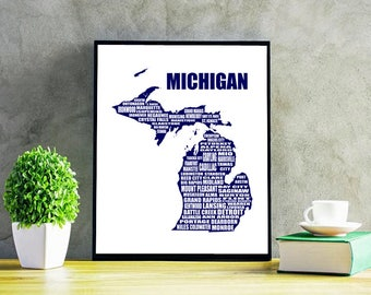 Map of Michigan, MichiganMap, Navy Blue, Instant Download, Detroit, Typographic Map, Wall Art, Michigan Map, Map Typography, 8x10""