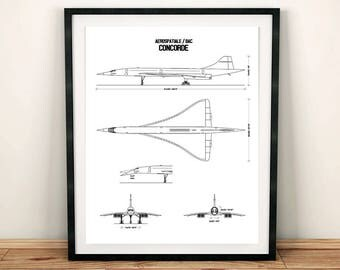 Blueprint art etsy concorde blueprint concorde blueprint art concorde decor instant download concorde wall malvernweather Gallery