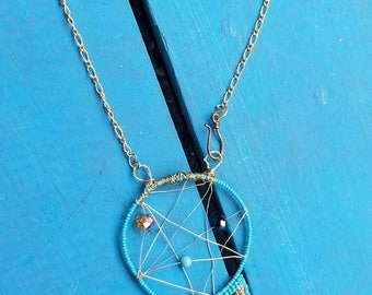 Karma Beaded Wire Turquoise Dreamcatcher Necklace