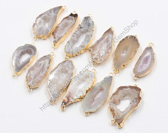 Druzy Connectors -- Drusy Druzzy With Electroplated Gold Edge Geode Charms Wholesale Supplies CQA-042