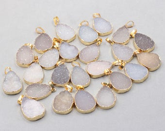 25*19mm Teardrop Agate Druzy Pendants -- With Electroplated Gold Edge Druzzy Drusy Geode Dainty Charms Supplies Handmade YHA-237