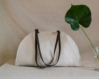 Summer handbag, Market bag, Beach bag, Handwoven bag, Summer bag, Boho chic bag, Round bag, Leather handles bag, Trendy bag, Rope bag