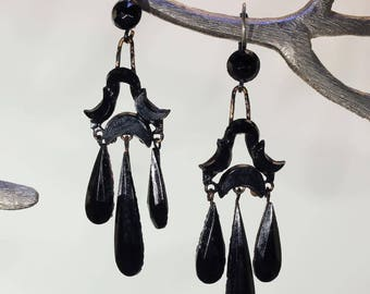 Antique Victorian French Jet Chandelier Earrings