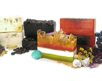 SOAP of the Month CLUB - Receive an Artisan Soap Bar in the Mail Every Month for 6 months w/ FREE Samples / Shipping Included / Gift / Save