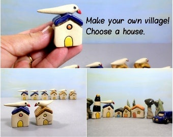 Miniature house, Lone house, Ceramic house, Rustic house, Little house, Miniature bird, Ceramic village, DIY gift, It takes a village