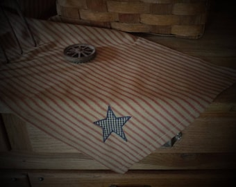 Red Ticking Homespun Table Mat~Runner (with or without Navy Primitive Star~