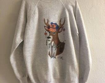 Vintage 1997 Hand Painted Redneck Deer Novelty Sweatshirt XL