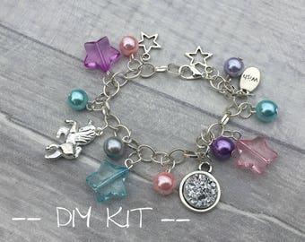 DIY Unicorn Bracelet Kit, Charm Bracelet Kit, Craft Kit, Silver Beading Kit, Beads for Kids, Druzy Bracelet, Bead-Kids
