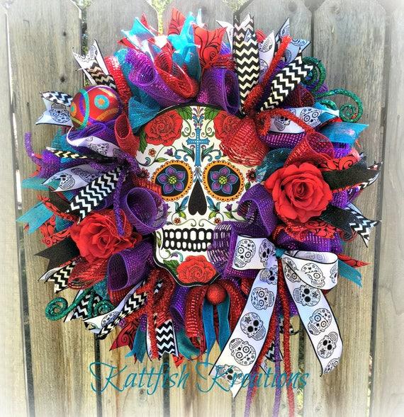 Sugar Skull Wreath Dia De Los Muertos Wreath Halloween Wreath