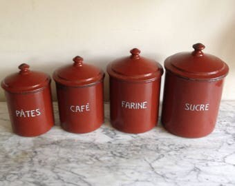 FOUR French Vintage enamel kitchen CANISTERS.  Original and stylish.