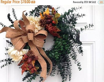 FALL DOOR WREATH~ Preserved Eucalyptus Wreath ~ Natural Look Fall Wreath ~ Interior Decor ~ Fall Rustic Style Wreath ~ Thanksgiving Wreath ~