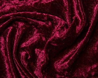 "Wine Red Crushed Velvet Velour Fabric Material - Polyester - 150cm (59"") wide"