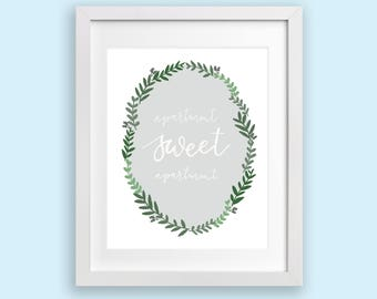 SALE Art Print - Apartment Sweet Apartment | Wreath Design, White Hand Lettered Modern Calligraphy, Housewarming, College Dorm Decor