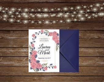 Printed Wedding Invitations/Floral Wedding Invitations/Blue Wedding Invitations/Personalised Invitations/Personalised wedding invites