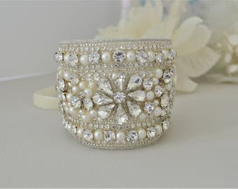 JANESSA Vintage Inspired Crystal and Pearl Bridal Cuff/Bracelet