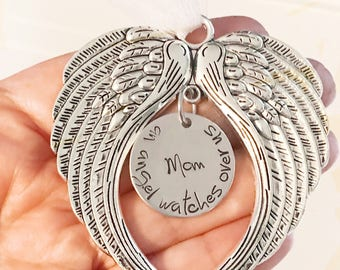 Angel wings - Hand stamped ornament - Chritmas ornament - Memorial ornament - An angel watches over - Angel wings decoration - Loss ornament