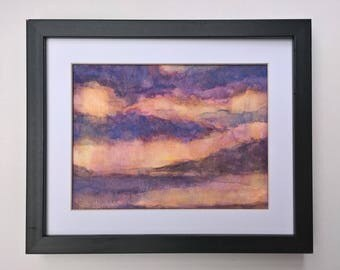 Abstract Landscape Watercolour painting, subtle sunset art, violet blue clouds, yellow orange evening sky, island silhouette reflection