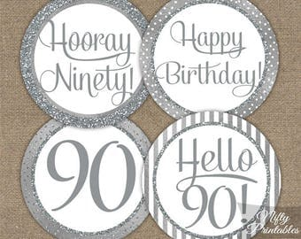 90th Birthday Cupcake Toppers - Silver 90th Birthday Toppers - 90 Year Old Birthday Party Decorations - 90th Birthday Favor Tags SLV