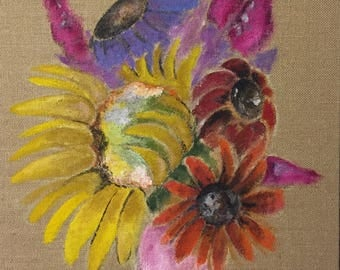 Acrylic painting, burlap, flower painting, wall decor, flowers in a vase