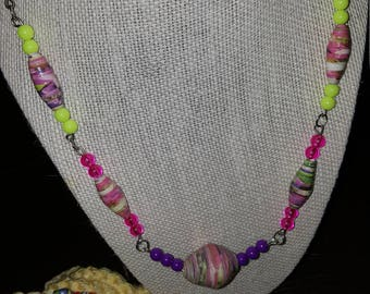 handmade paper bead necklace and bracelet
