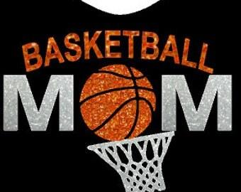 Basketball Mom, Glitter Basketball, DIY Basketball Iron-on, Basketball Heat Transfer, Custom Basketball
