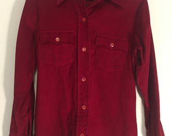 LEVI'S Levi's For Gal's CORDUROY Long Sleeve Shirt, 9/ 10 Small Cotton
