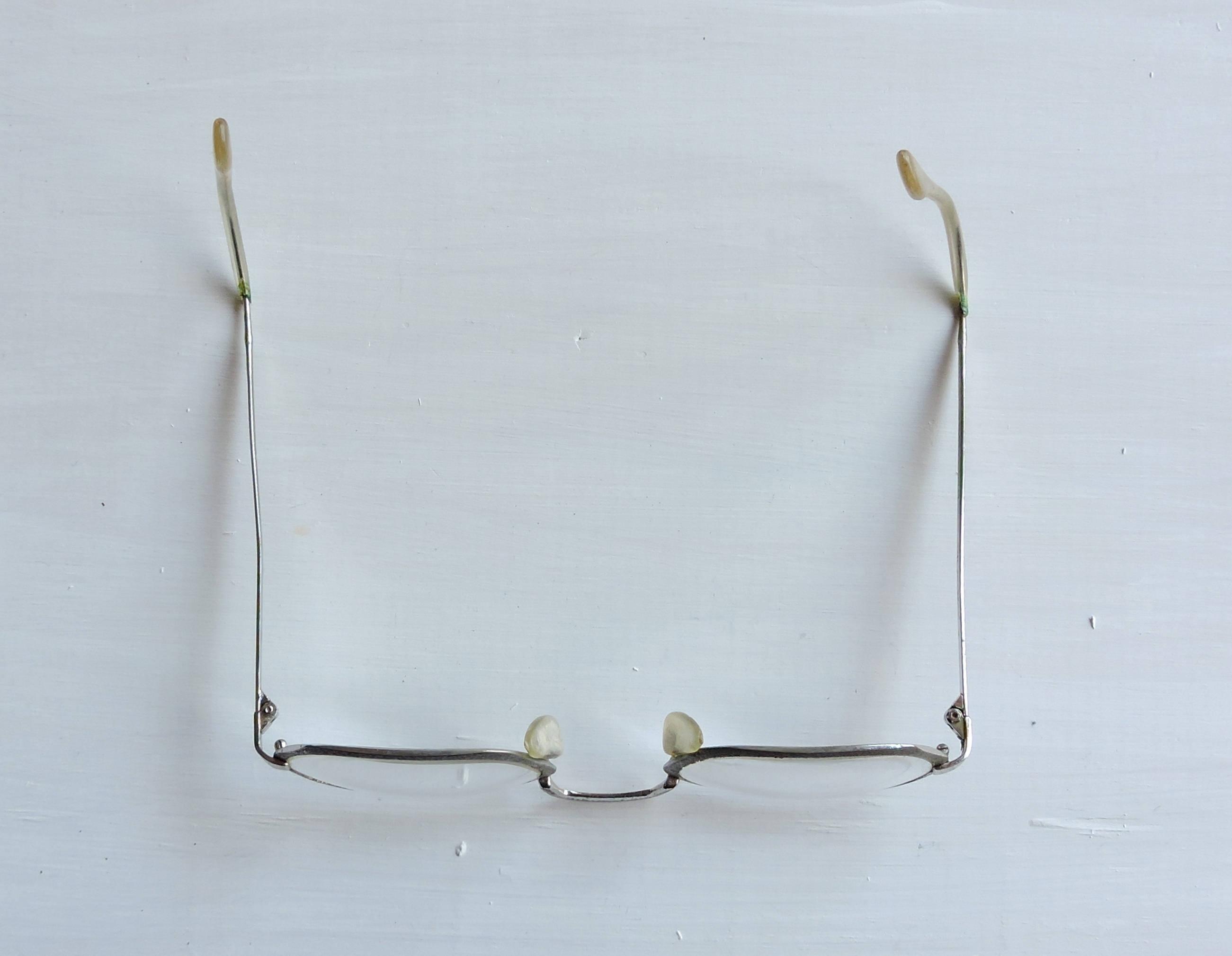 Small Vintage Eyeglasses, Brushed Silver Glasses, Renaissance Frames ...