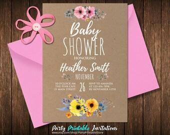 Rustic Baby Shower Invitation Neutral Unique Baby Shower Invitations Flower Baby Shower Invitation Floral Baby Shower Invitates Boho