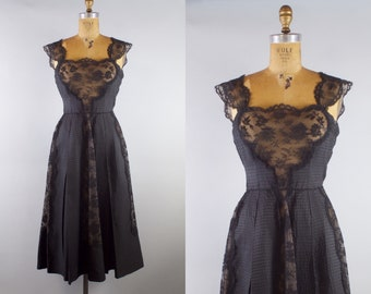 Vintage 1950s Black Silk and Lace Pleated Party Dress / 50s Black Lace Dress / Small