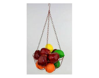 Hanging Fruit Basket Vintage Wire Planter Bowl Bathroom Towel Storage  Rustic Kitchen Decor Garden Holder Vegetable