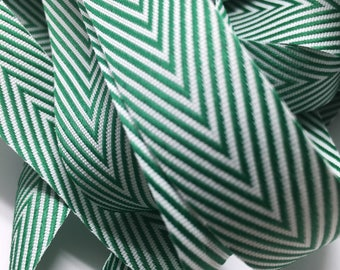 "3 yards 1.5"" Christmas Herringbone Twill Green and White ribbon"