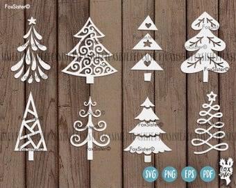 8 Christmas tree svg Bundle SET 2 | 8 svg cut files | Christmas tree cut file svg | New Year svg | Silhouette | vinyl decal Winter | Cricut