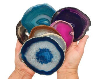 Agate Slices Size 4 or 5 Choose your size, Quantity and Color - Wedding Agate Place Cards Agate Mosaics Crafts Agate Coasters (WCP)