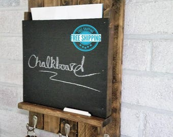 FREE SHIPPING -  Sydney LARGE Mail Slot with Chalkboard and 3 hooks  by Lane of Lenore - Mail and Key Holder -Mail Organizer Wall